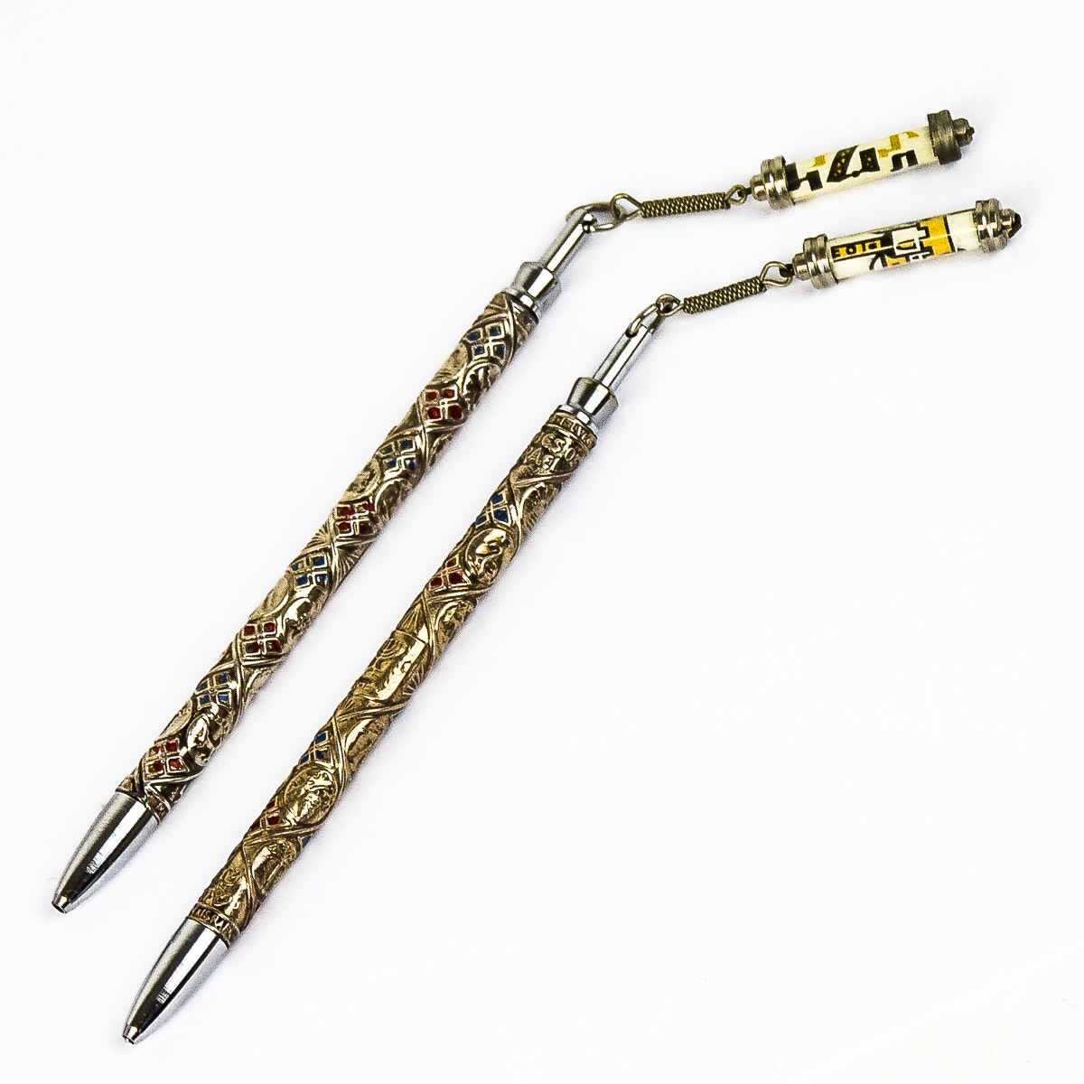 Pair of Vintage Tribes of Israel Sterling Silver Pens By Rolex