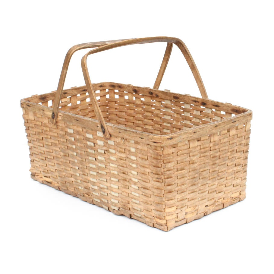 Mid-1800s Hand Woven Gathering Basket