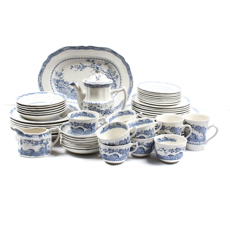 "Furnivals ""Quail-Blue"" English China Set"