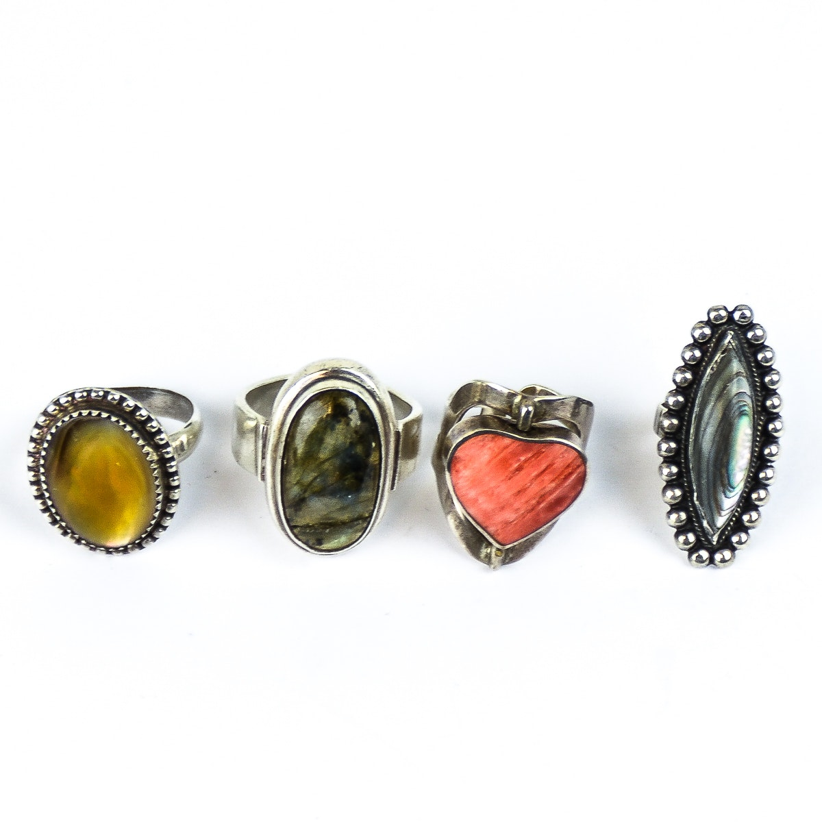 Sterling Silver, 950 Silver, and Stone Statement Rings