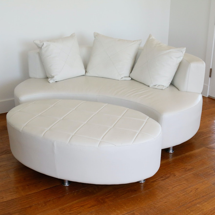 Modernist Style Sofa And Ottoman By