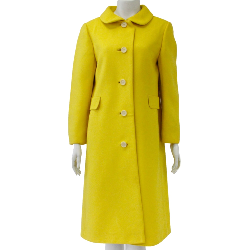 1960s Sunshine Yellow Wool Blend Coat with Silk Lining