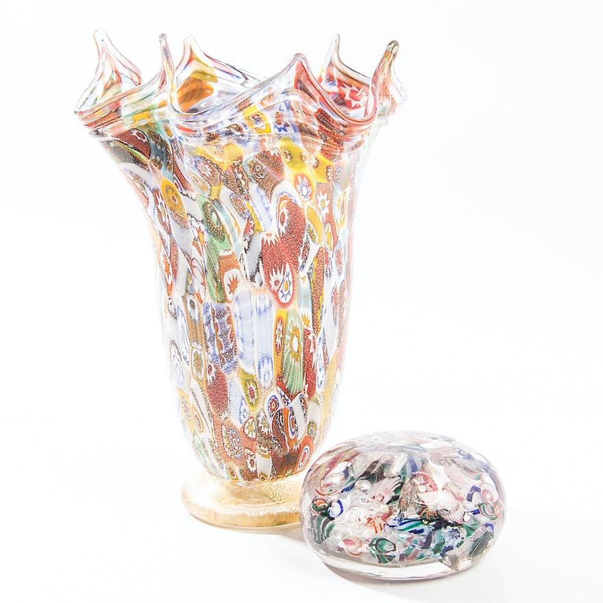Millefiori Vase And Paperweight Ebth