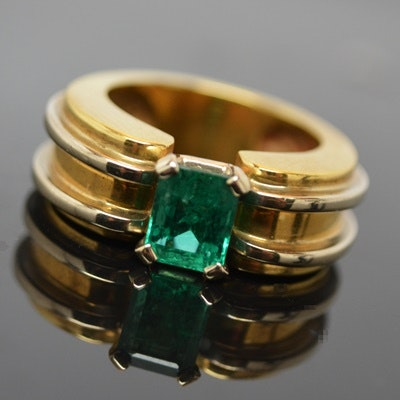 18K Yellow and White Gold 1.32 CTS Emerald Ring