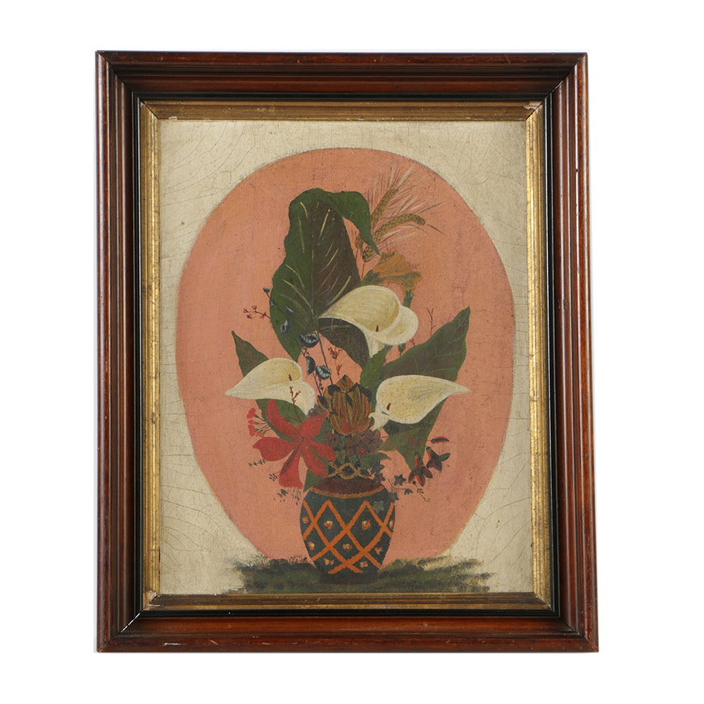 19th-Century American Folk Art Oil Painting on Canvas of Flowers