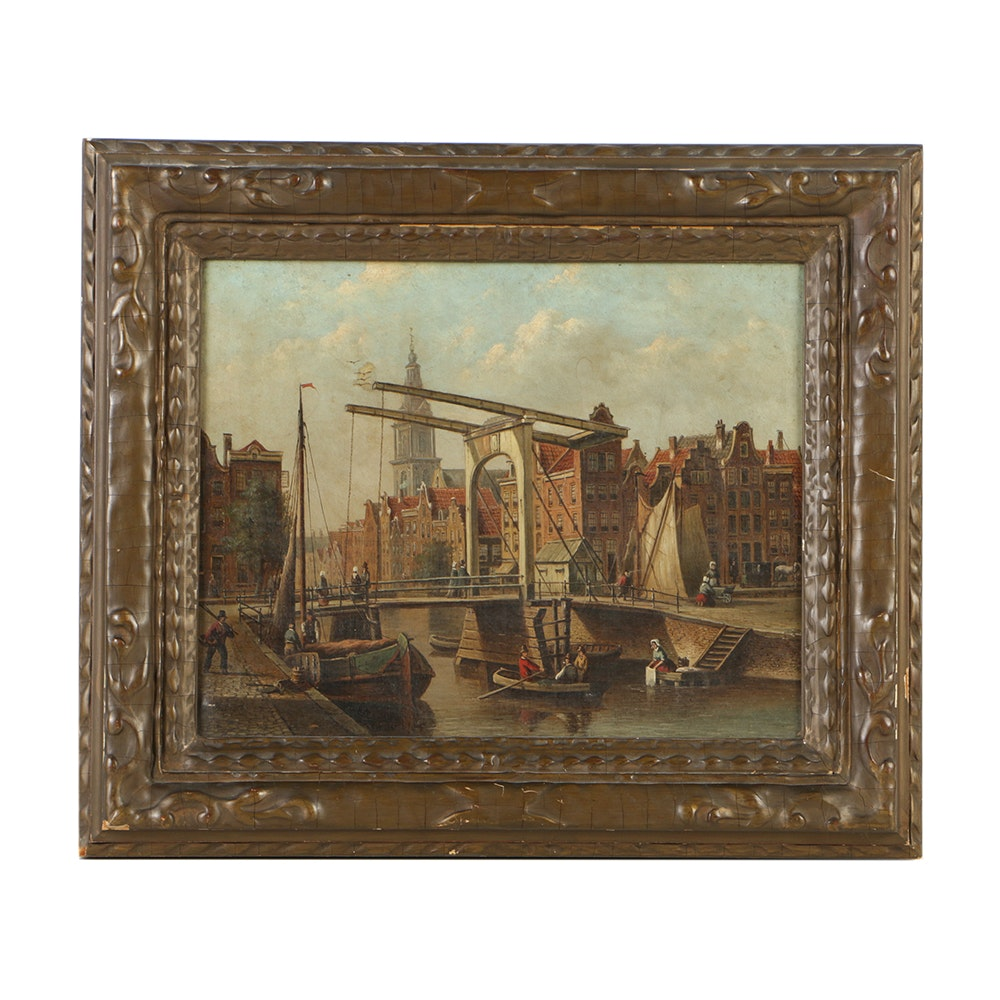 19-Century Oil Painting on Canvas Amsterdam Harbor Scene