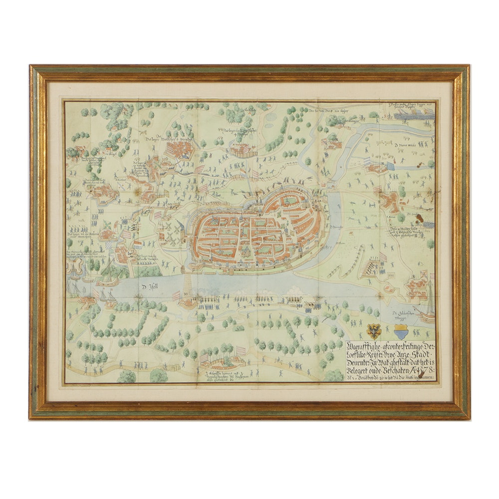 19th-Century German Watercolor Map on Paper