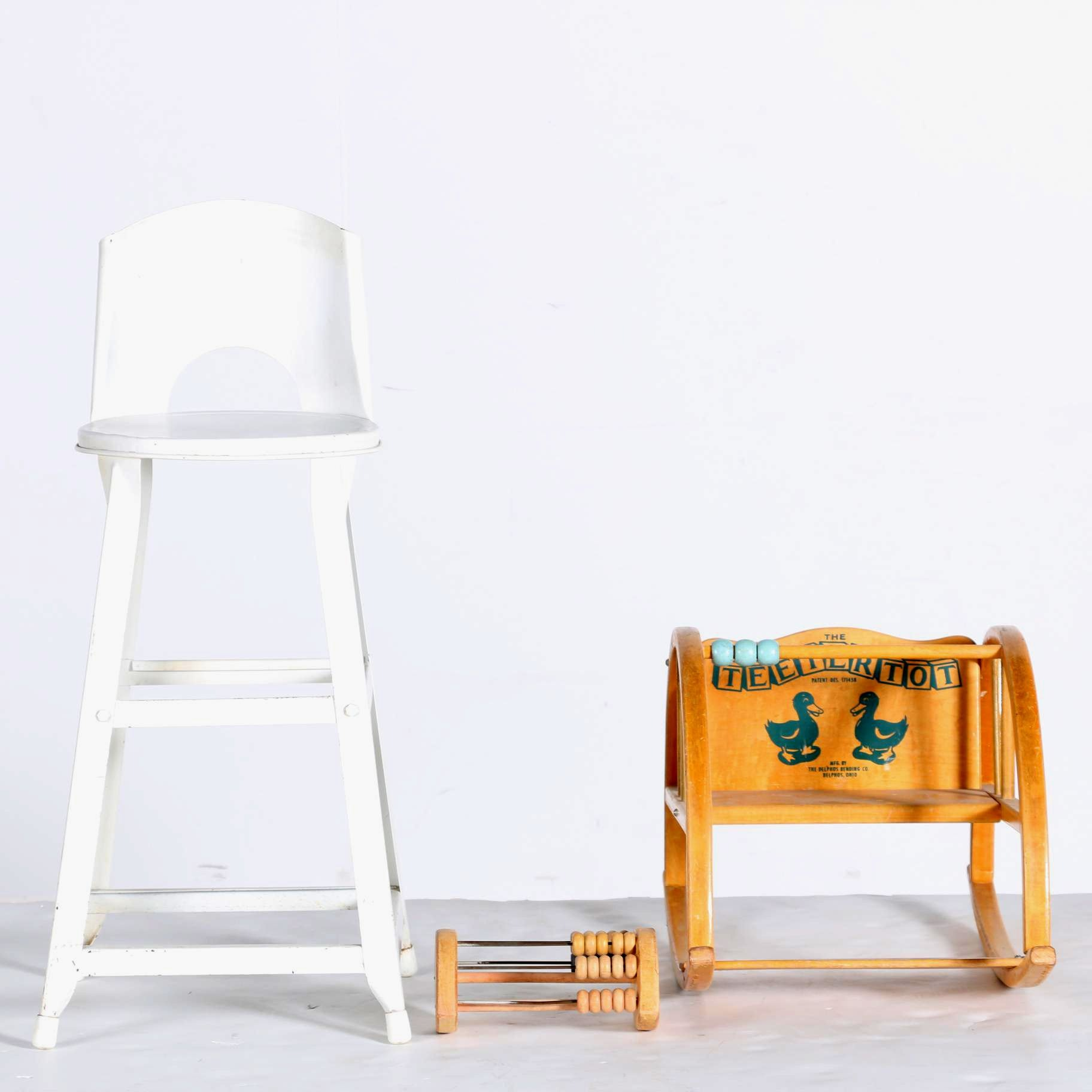 """Vintage High Chair, Rocker and Toy Including """"The TeeterTot"""""""