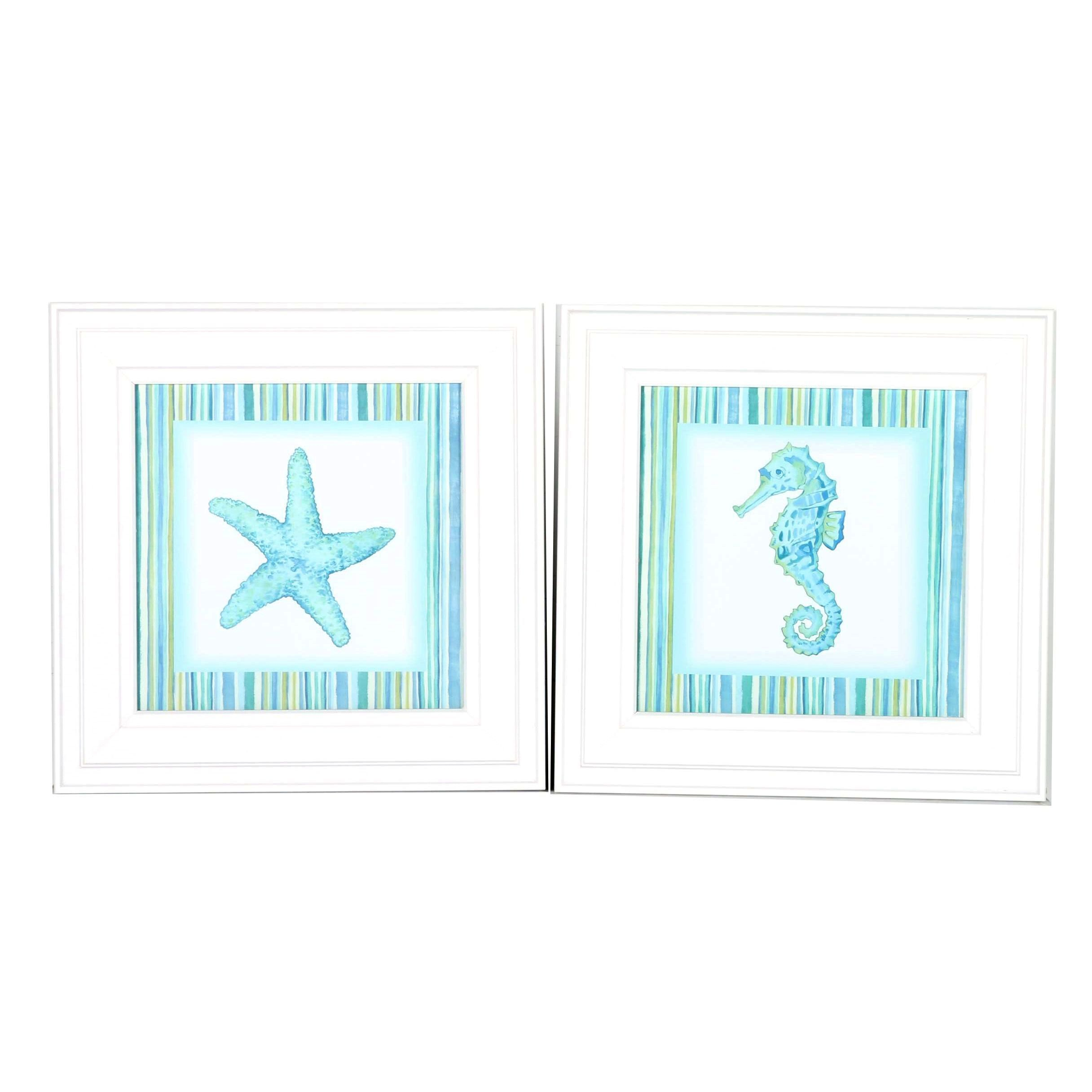 Framed Giclee Prints of Starfish and Seahorse