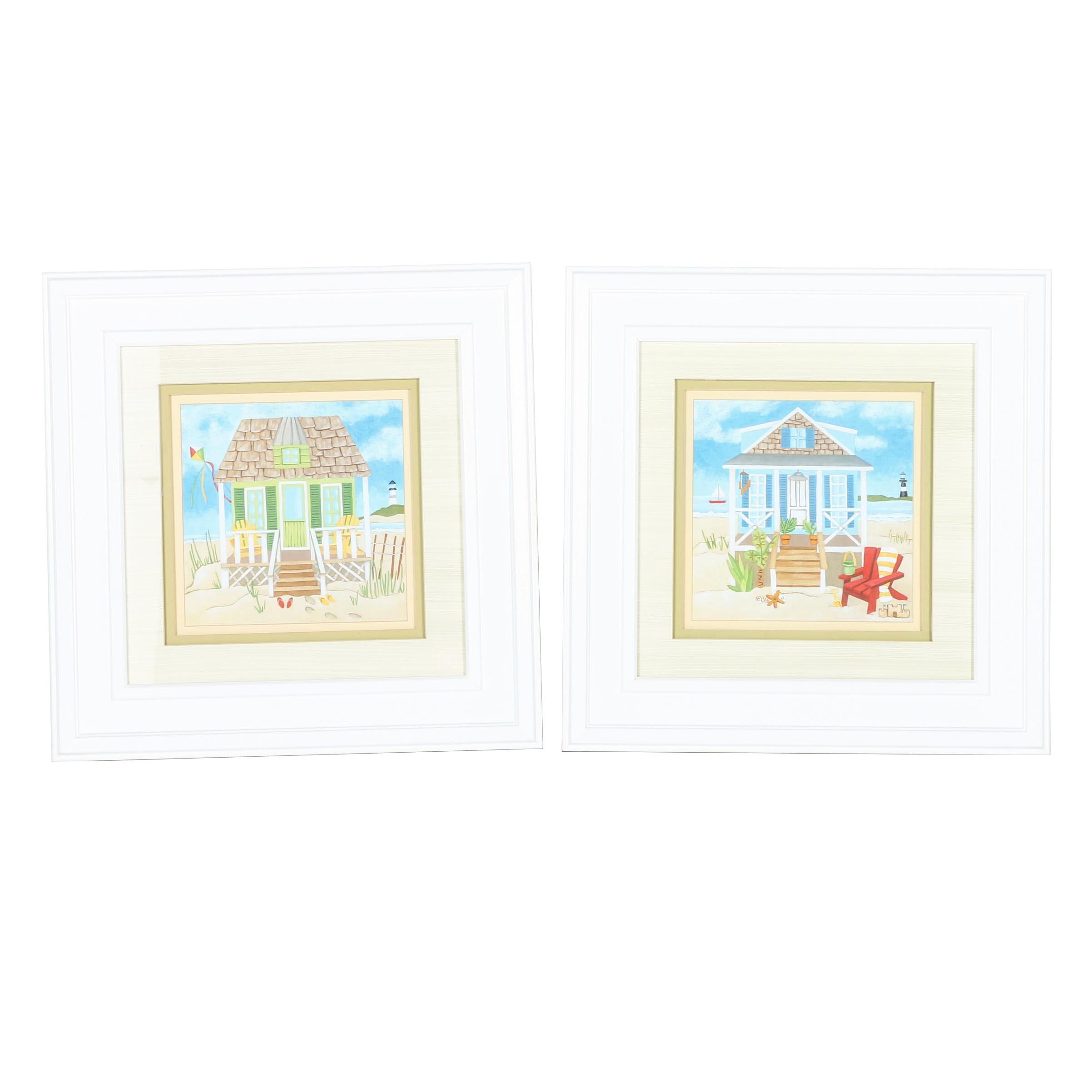Offset Lithographs of Beach Houses