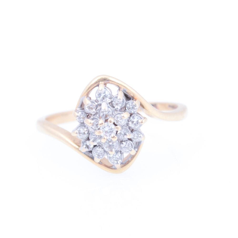 14K Yellow Gold Diamond Cluster Ring