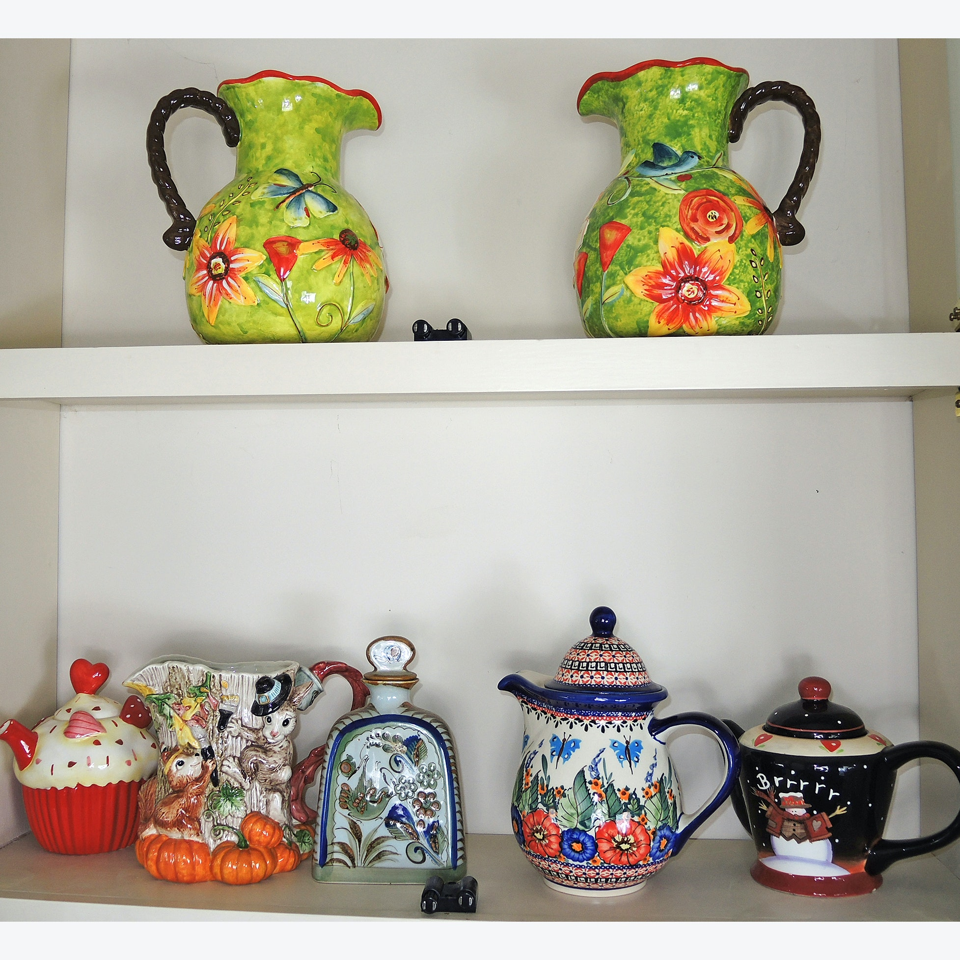 Ceramic Pitcher and Tea Pot Collection with Polish Pottery