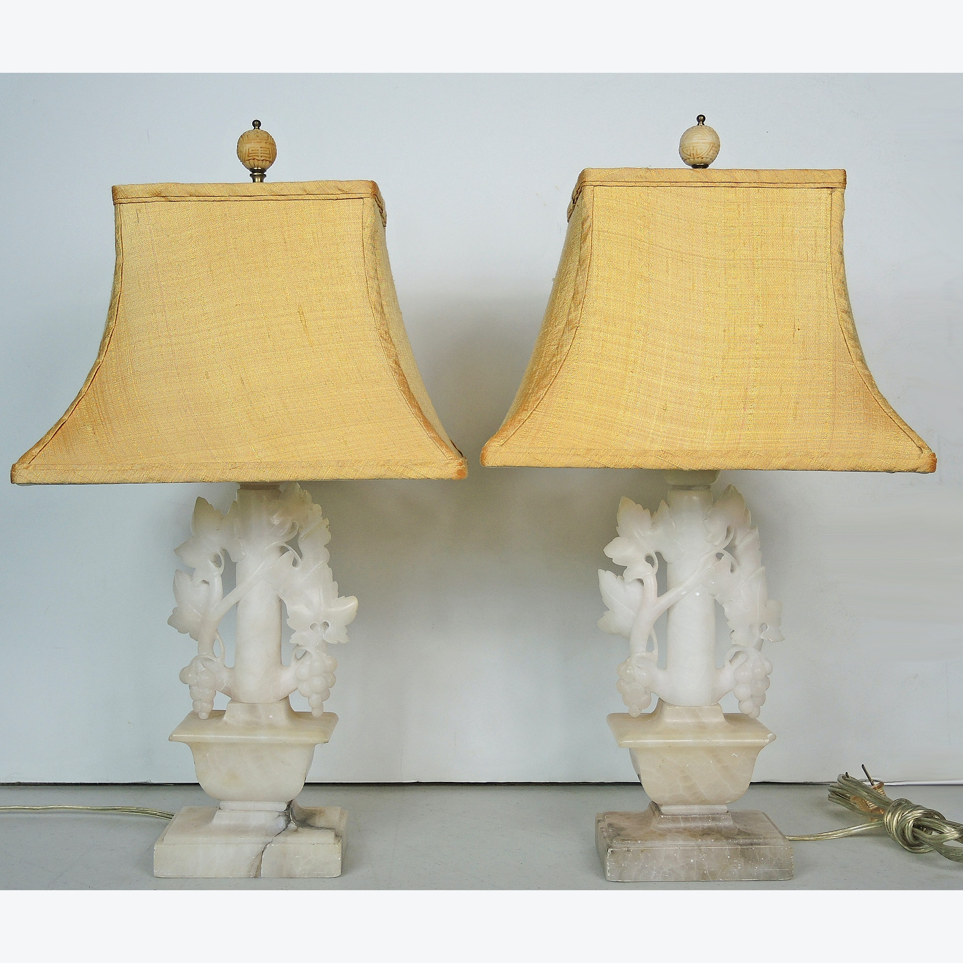 Vintage Carved Calcite Marble Table Lamp Set