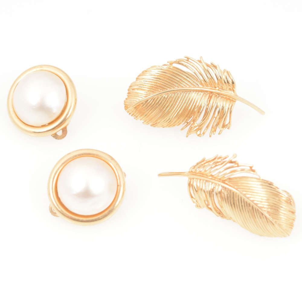 14K Yellow Gold Mabe Pearl Studs and Leaf Shaped Earrings
