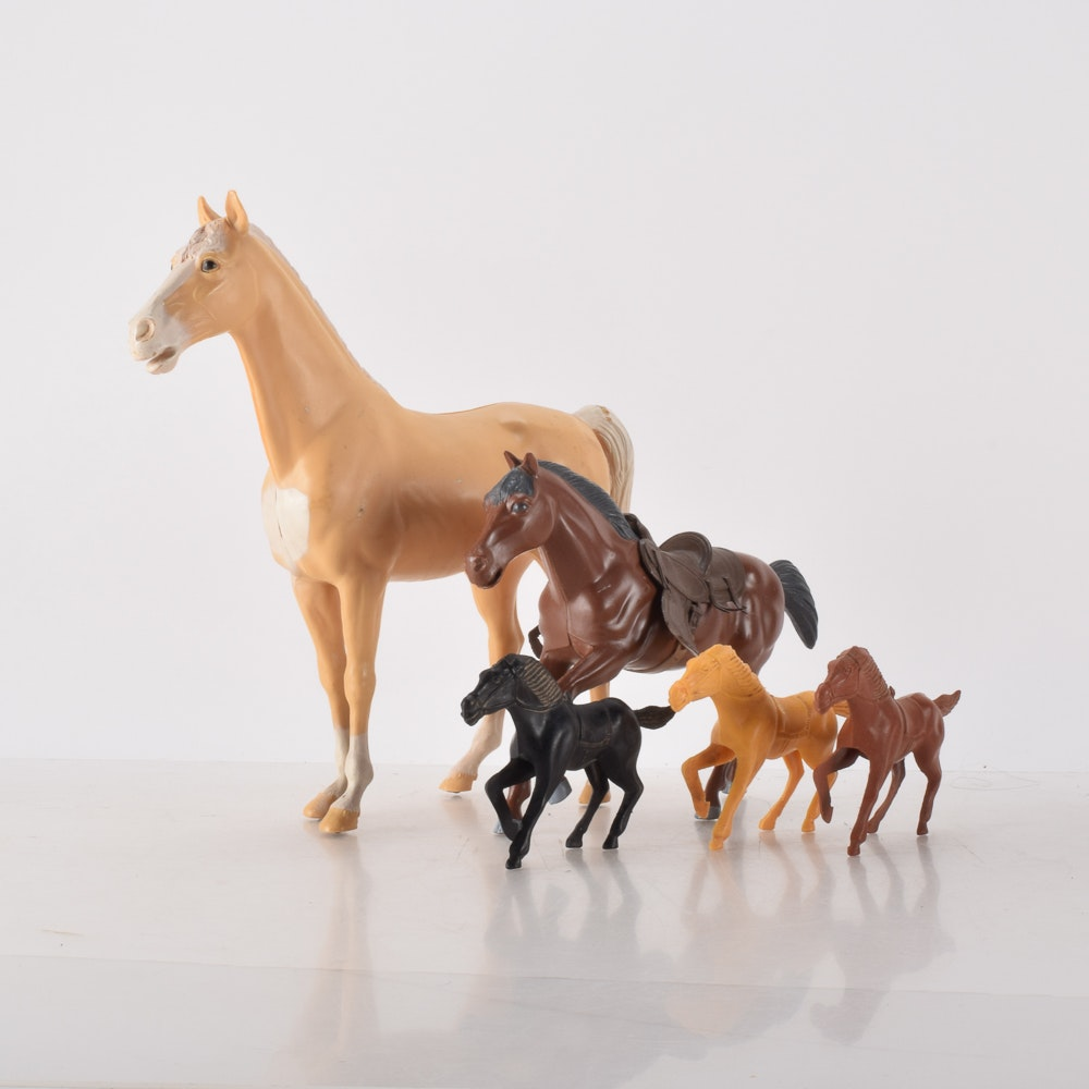 """Vintage Plastic Horse Toys Including Louis Marx """"Thunderbolt, """"Bonanza"""", and Tim-Mee"""