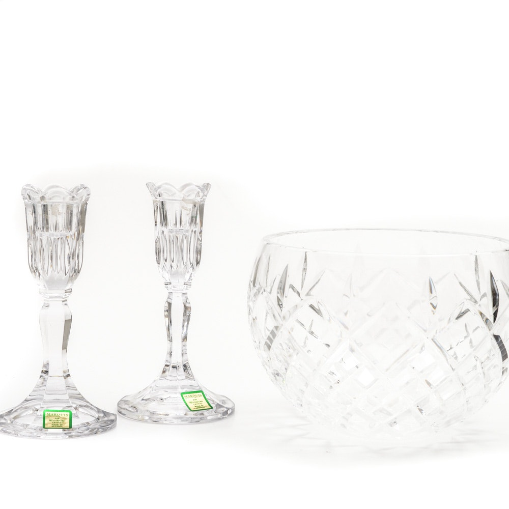 Waterford Crystal Bowl and Candlesticks