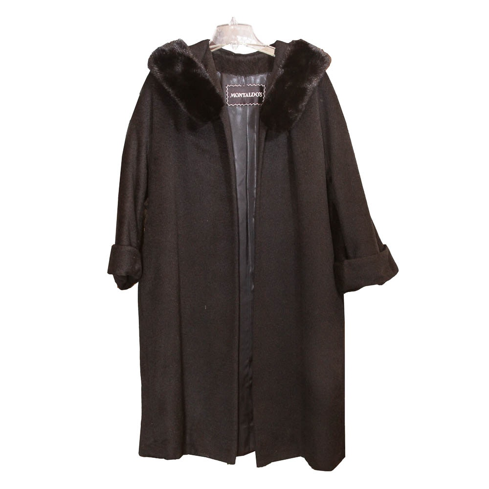 Montaldo's Black Wool Coat With Fur Collar