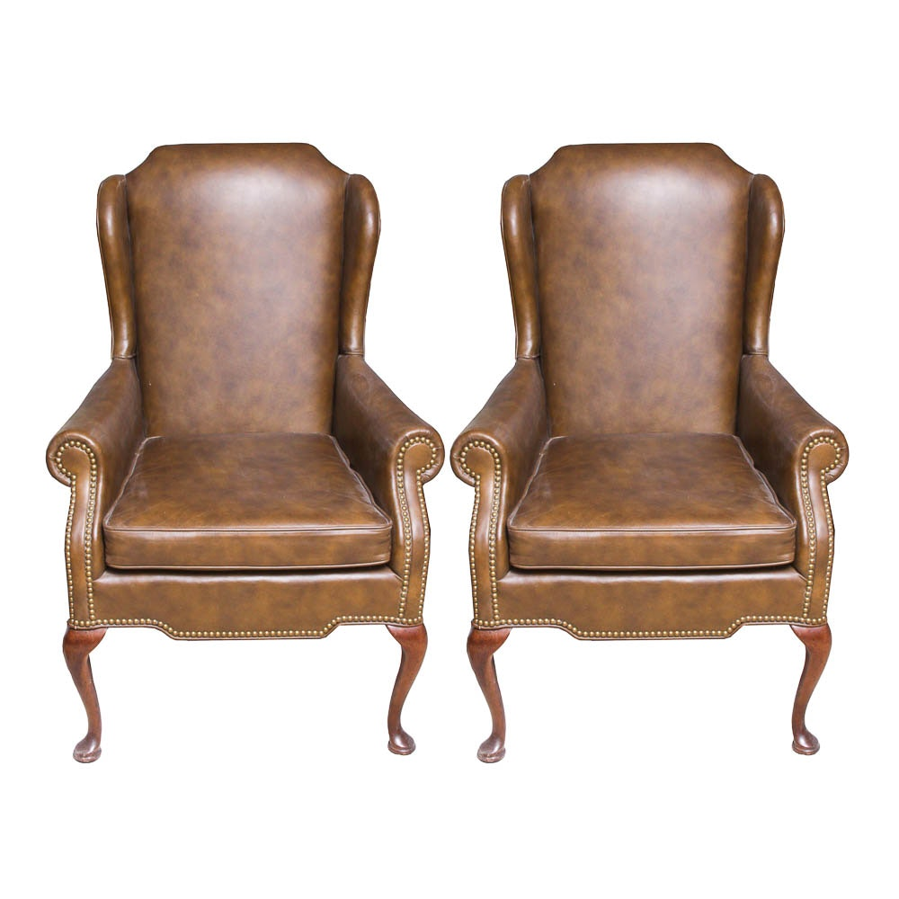 Queen Anne Style Brown Leather Wing Chairs by Leathercraft