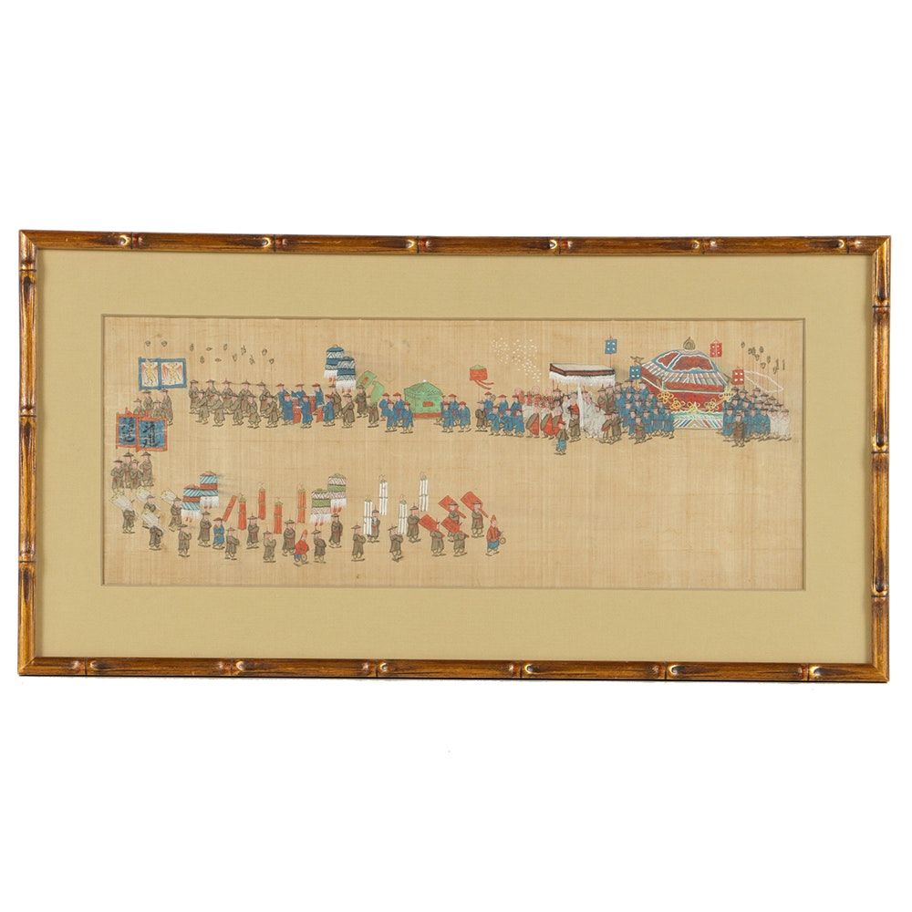 Chinese Gouache Painting on Silk of a Procession Scene