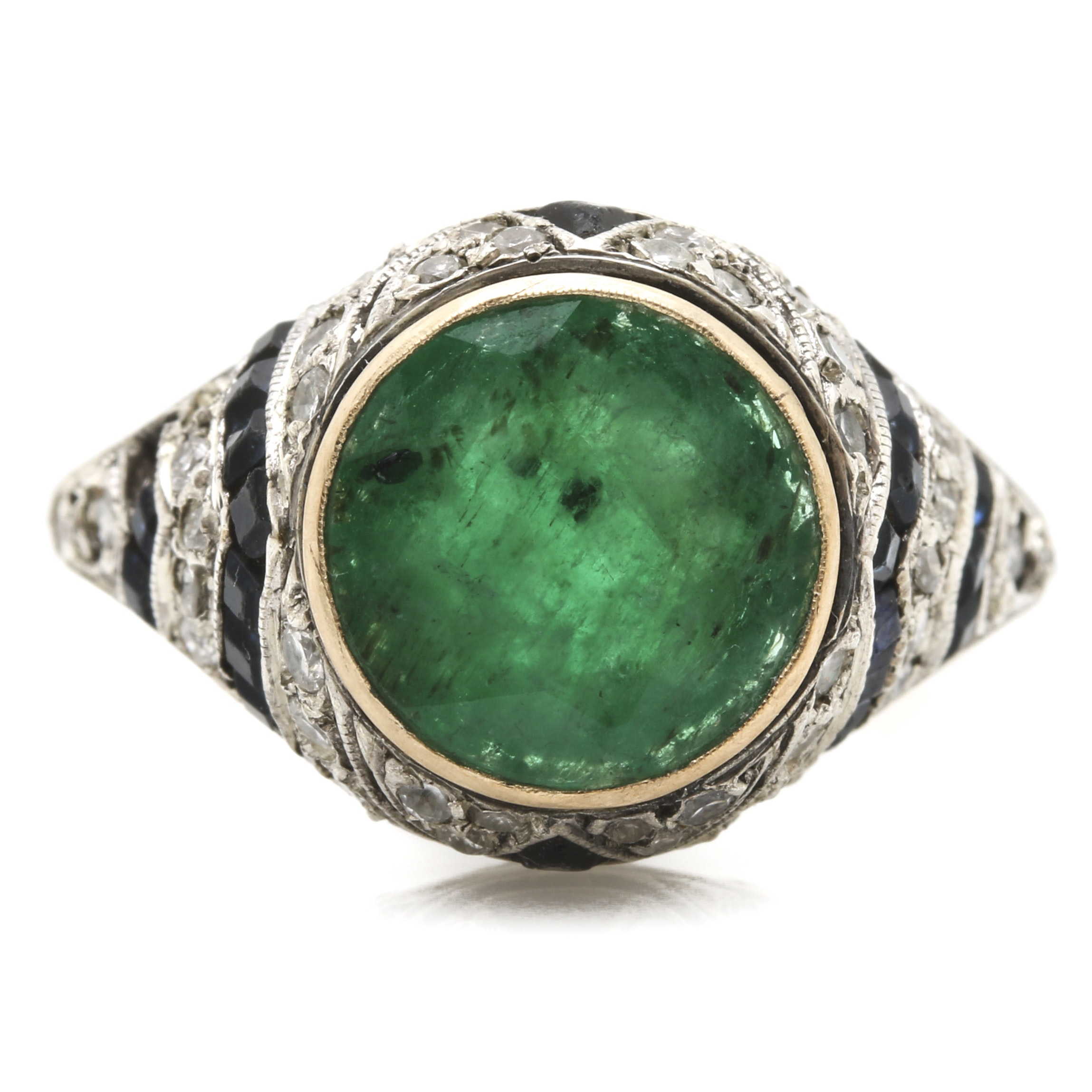 18K Yellow and White Gold Emerald, Diamond, and Glass Ring