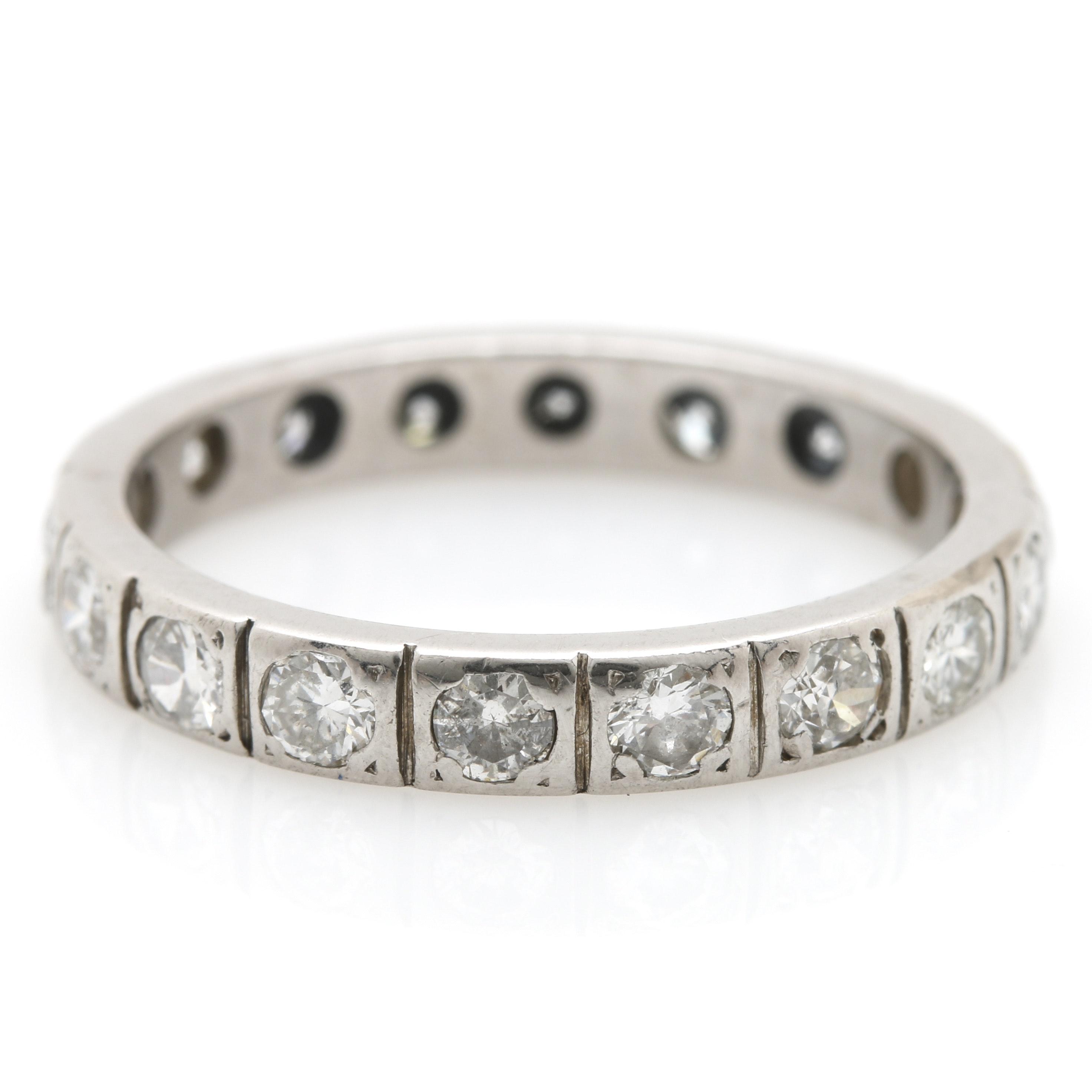 14K White Gold 1.08 CTW Diamond Infinity Band