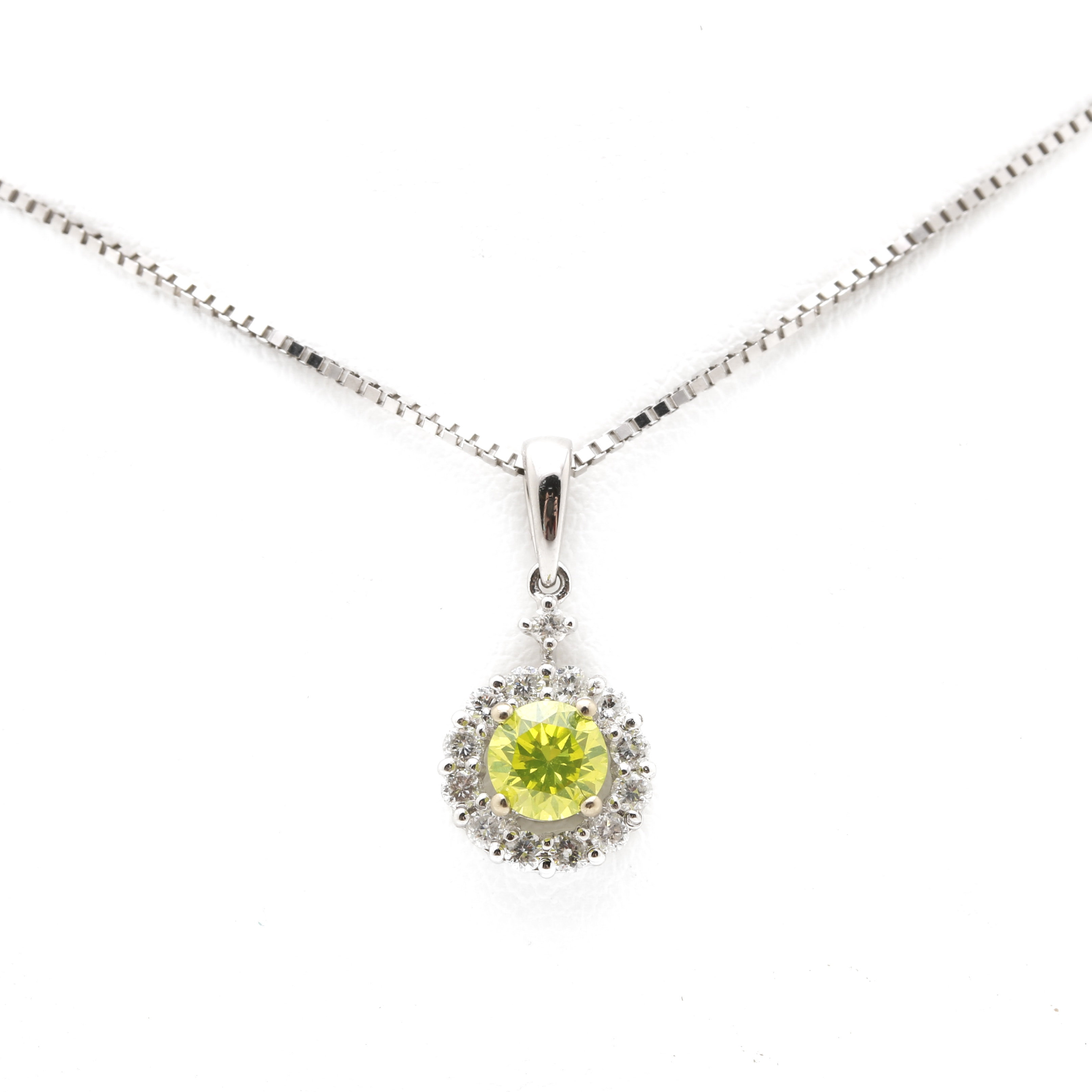 18K White Gold Fancy Green-Yellow and White Diamond Halo Pendant With 14K Box Chain