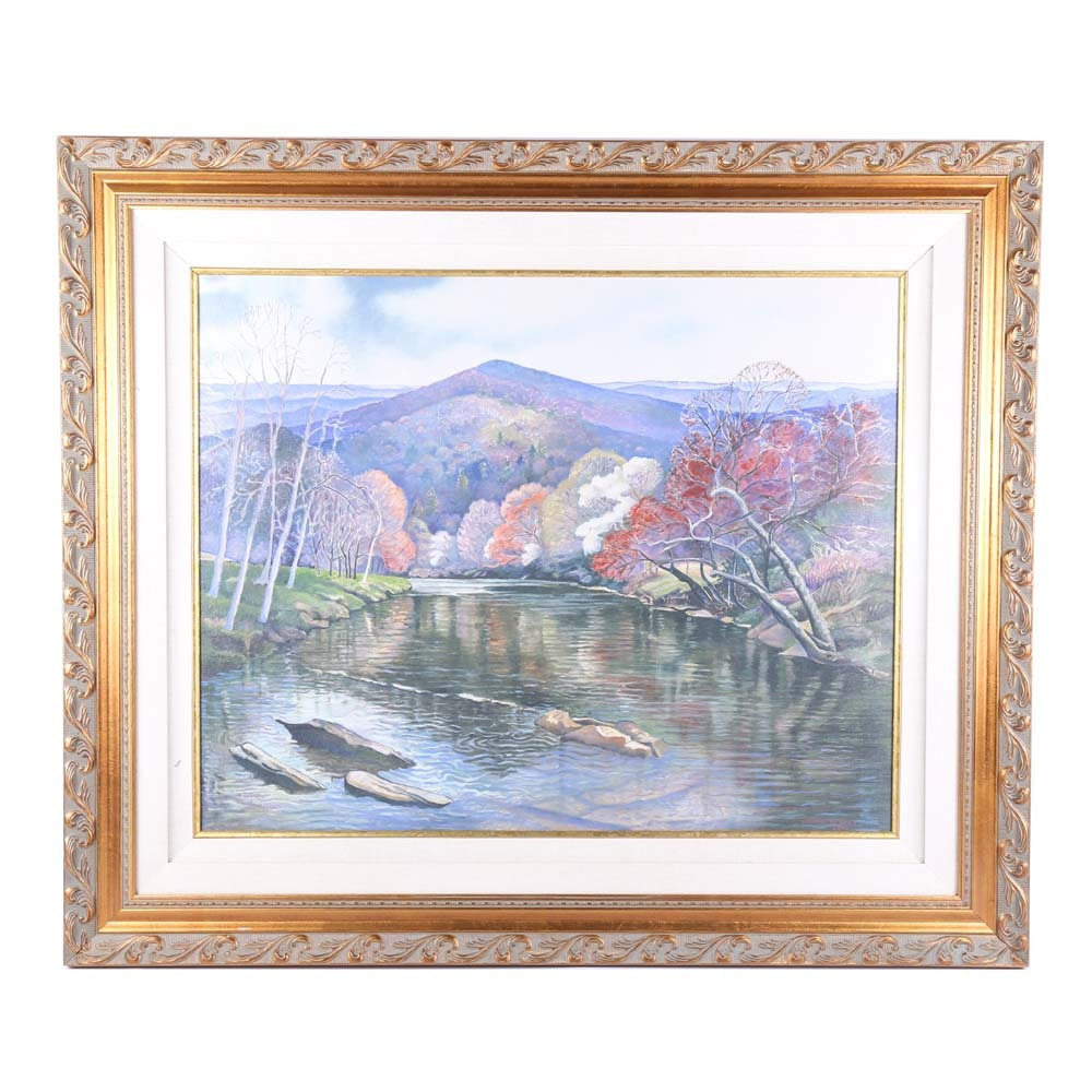 """Signed """"Spring on the New River"""" Oil on Canvas by Lenore De Pree"""