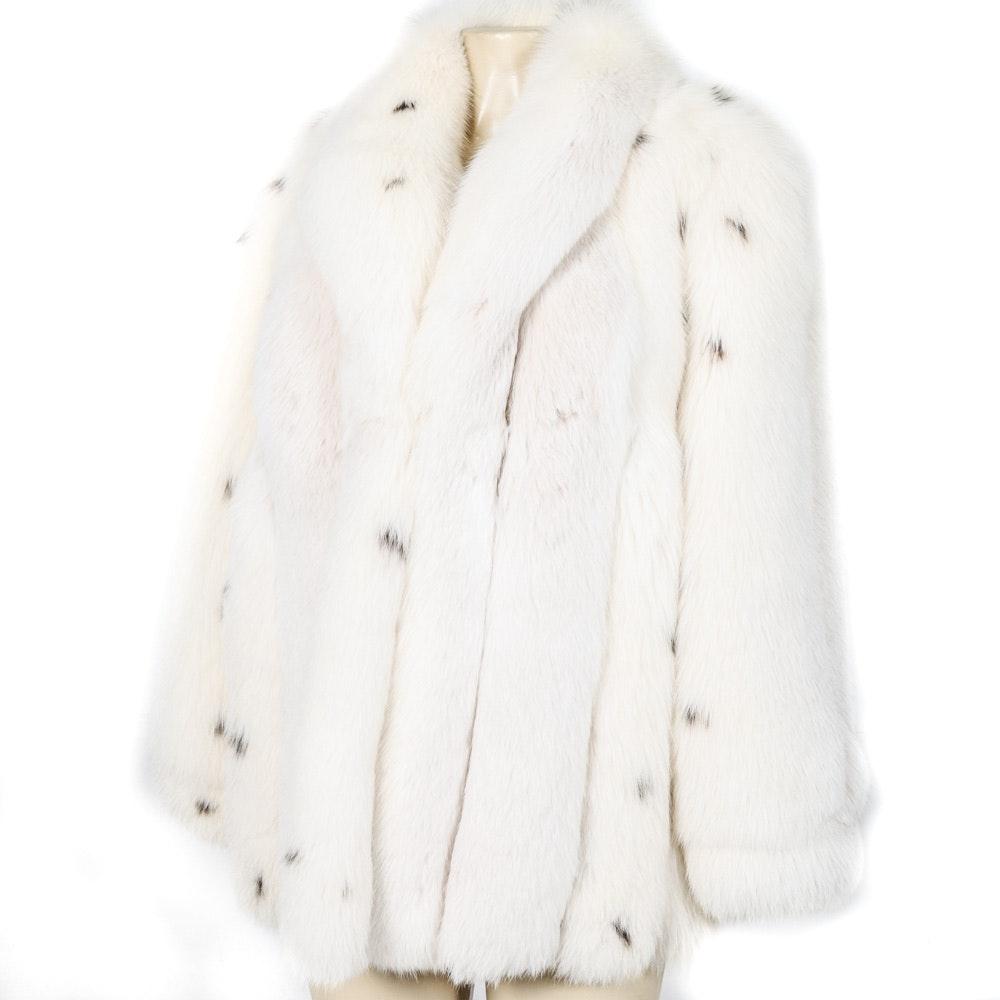 Lynx Dyed Blue Fox Fur Coat