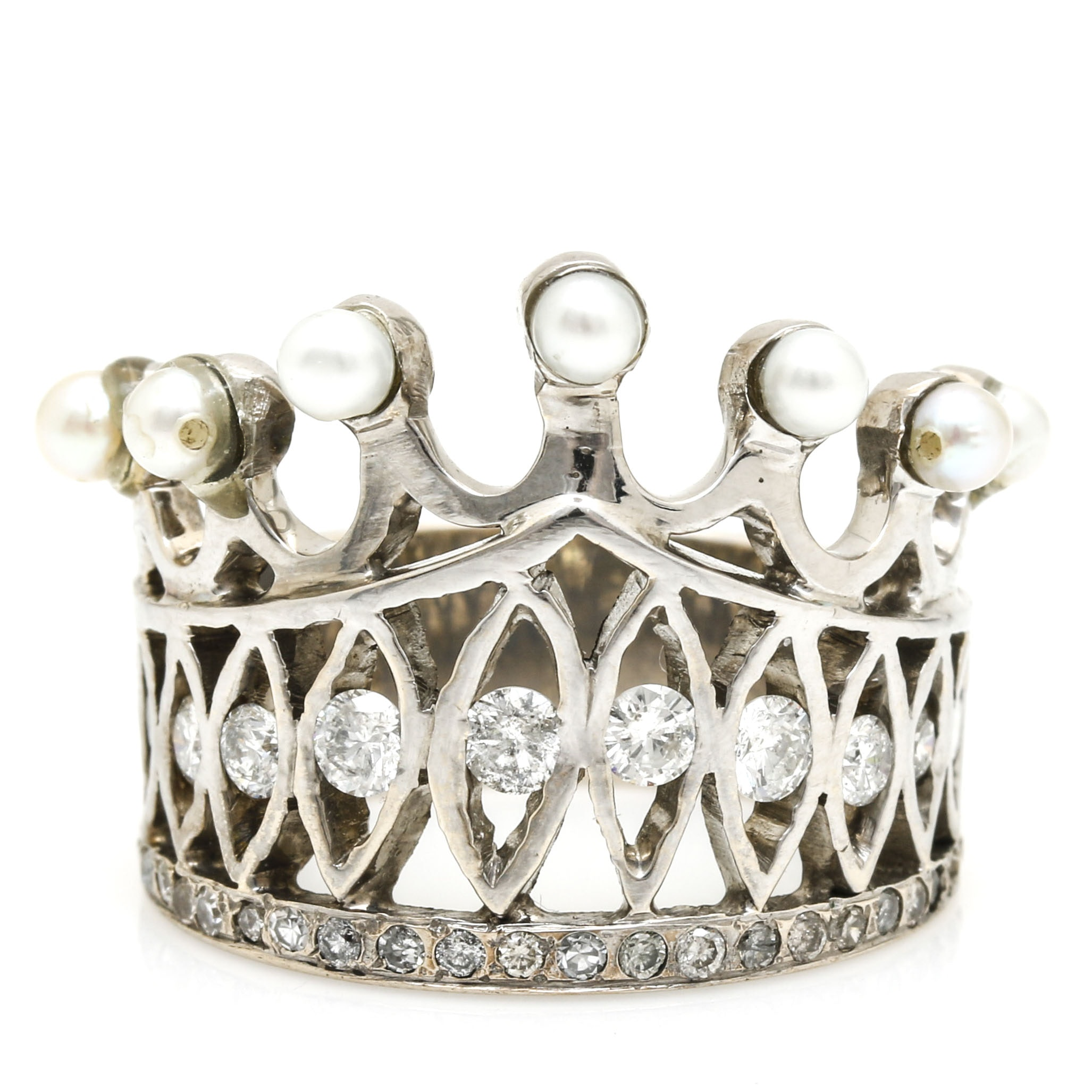 14K White Gold 1.12 CTW Diamond and Pearl Crown Ring