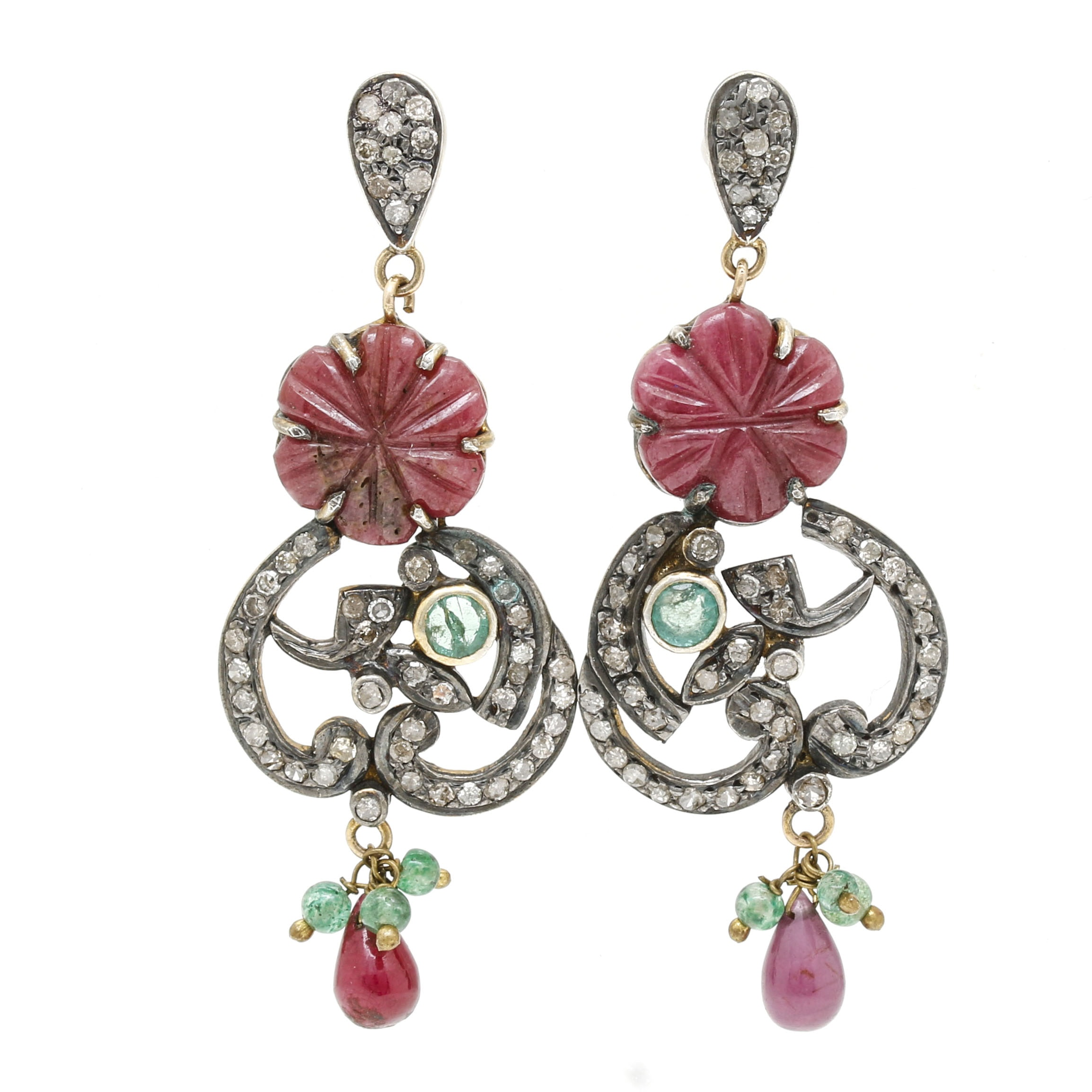 Sterling Silver Ruby, Emerald, and Diamond Earrings