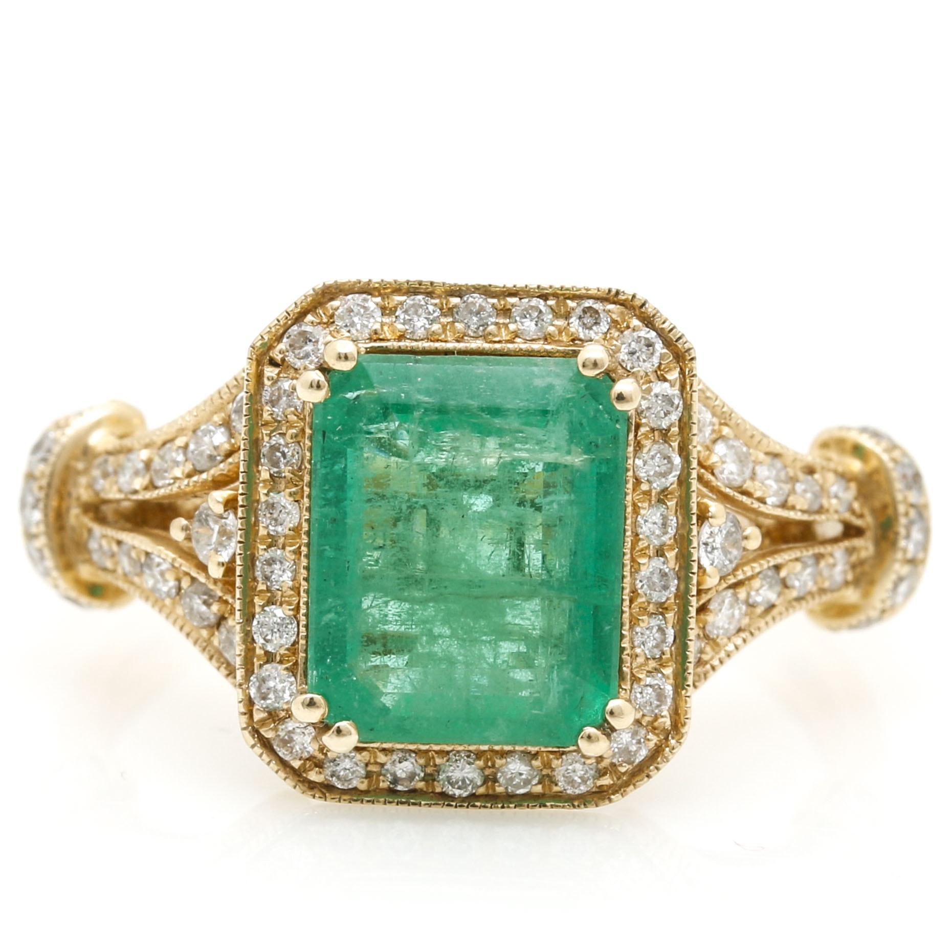Effy 14K Yellow Gold Emerald and Diamond Halo Ring