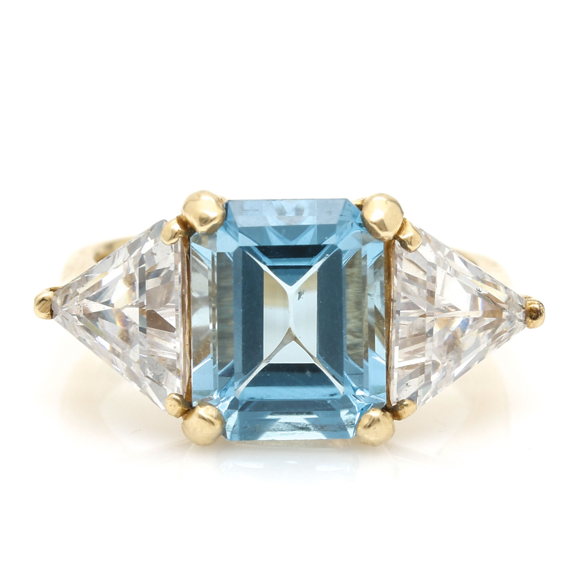 14K Yellow Gold 3.80 CTS Blue Topaz and Cubic Zirconia Ring