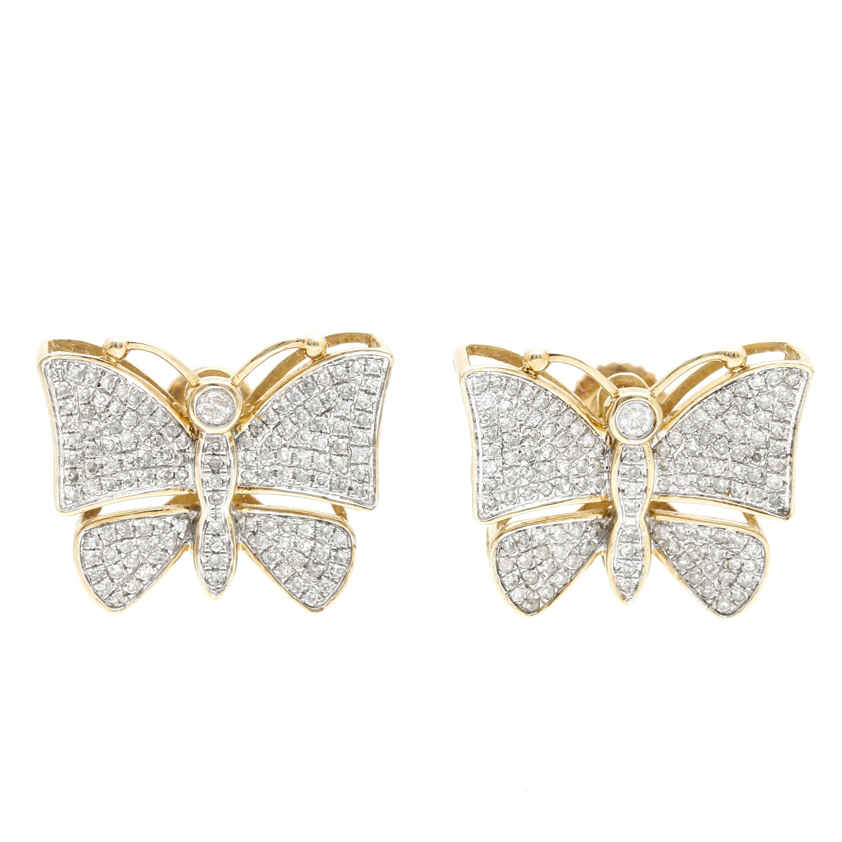 10K Two Tone 1.06 CTW Diamond Butterfly Earrings