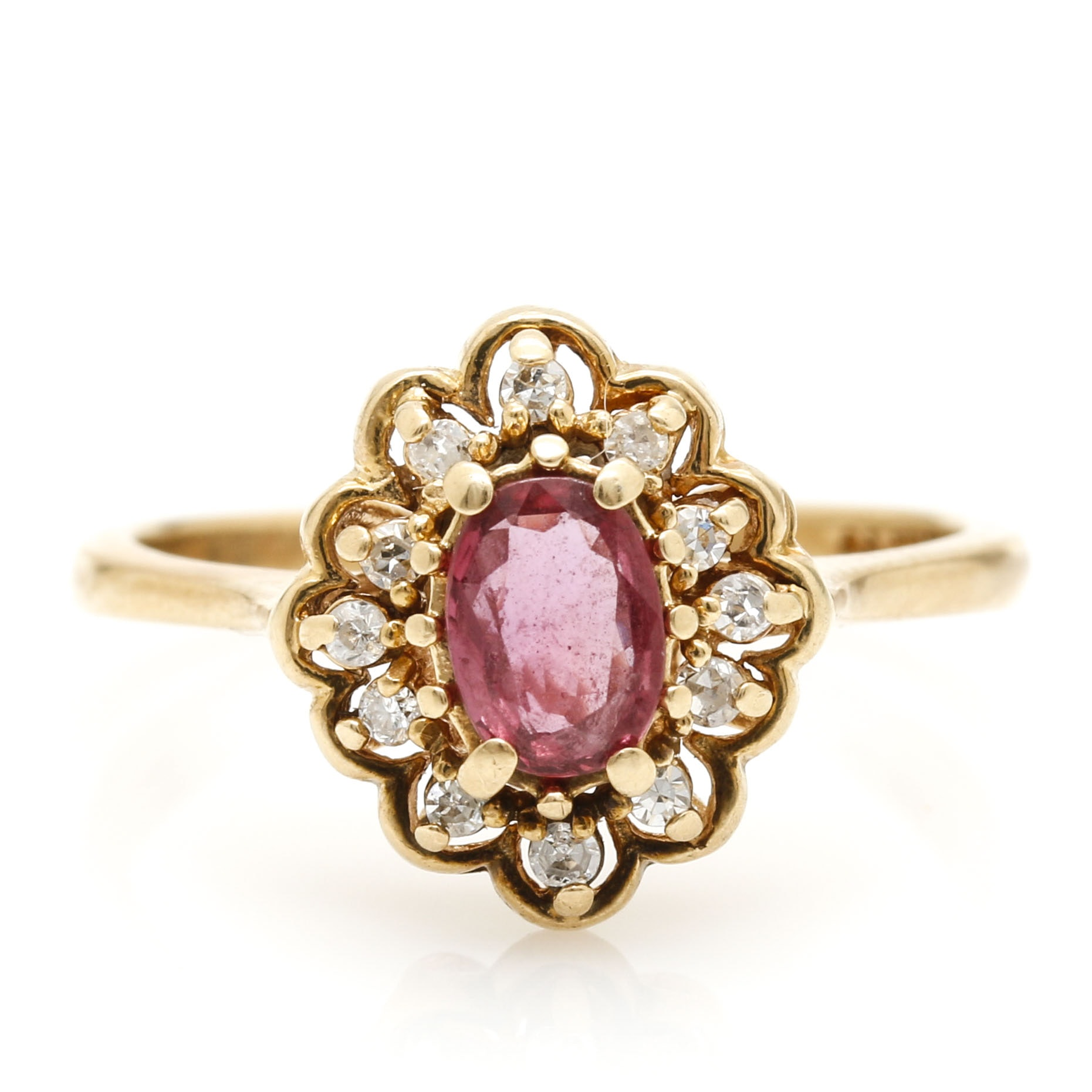 14K Yellow Gold Pink Sapphire and Diamond Halo Ring