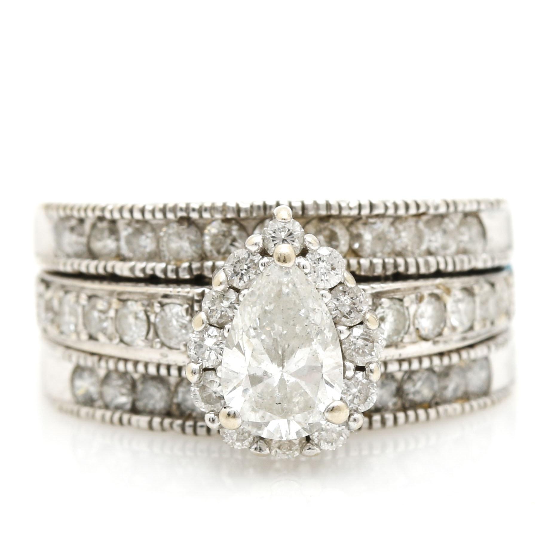 14K and 10K White Gold 1.68 CTW Diamond Wedding Set