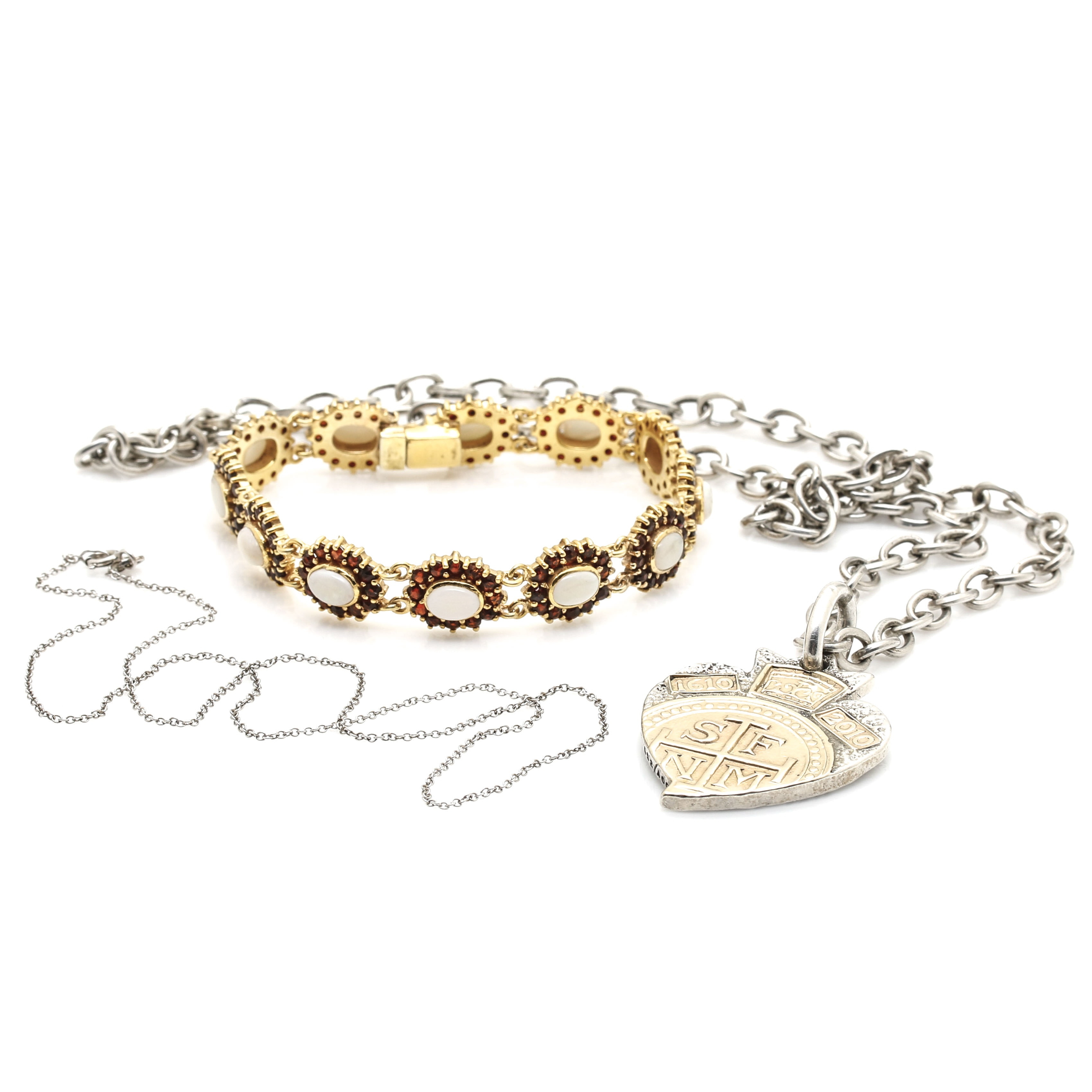 Sterling Silver Necklaces and Bracelet Featuring Douglas Magnus