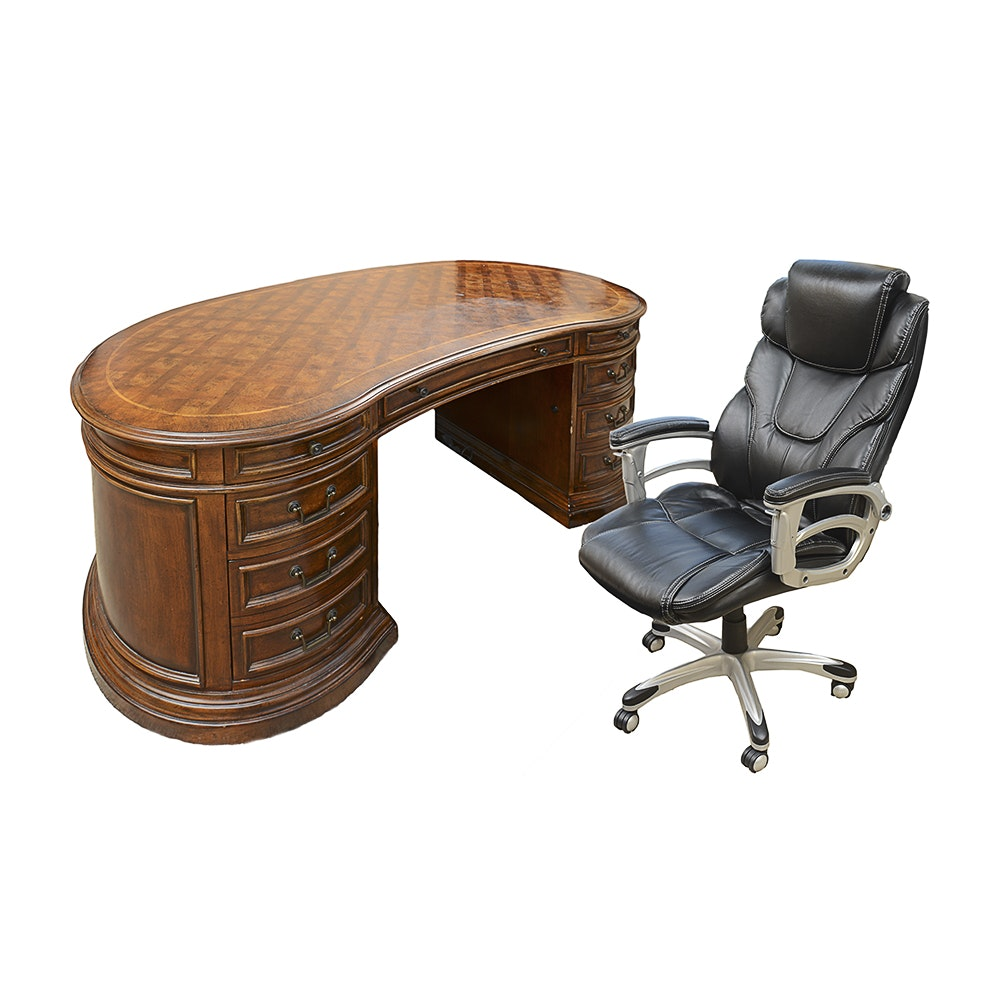 Hooker Kidney-Shaped Executive Desk and Baird Presidential Chair
