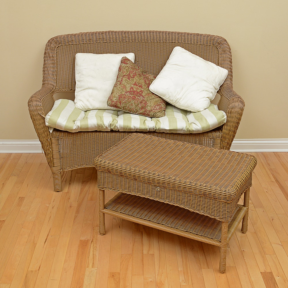 hampton bay wicker loveseat and coffee table