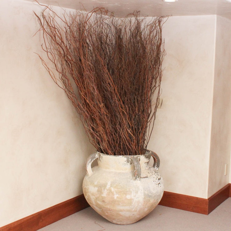 Oversized Floor Vase With Willow Branches Ebth
