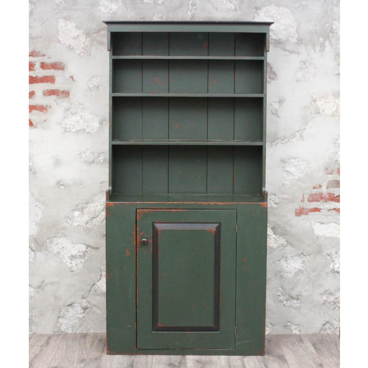 Primitive Style Stepback Cupboard in Green Paint
