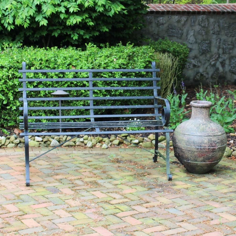 Metal Garden Bench and Outdoor Vase