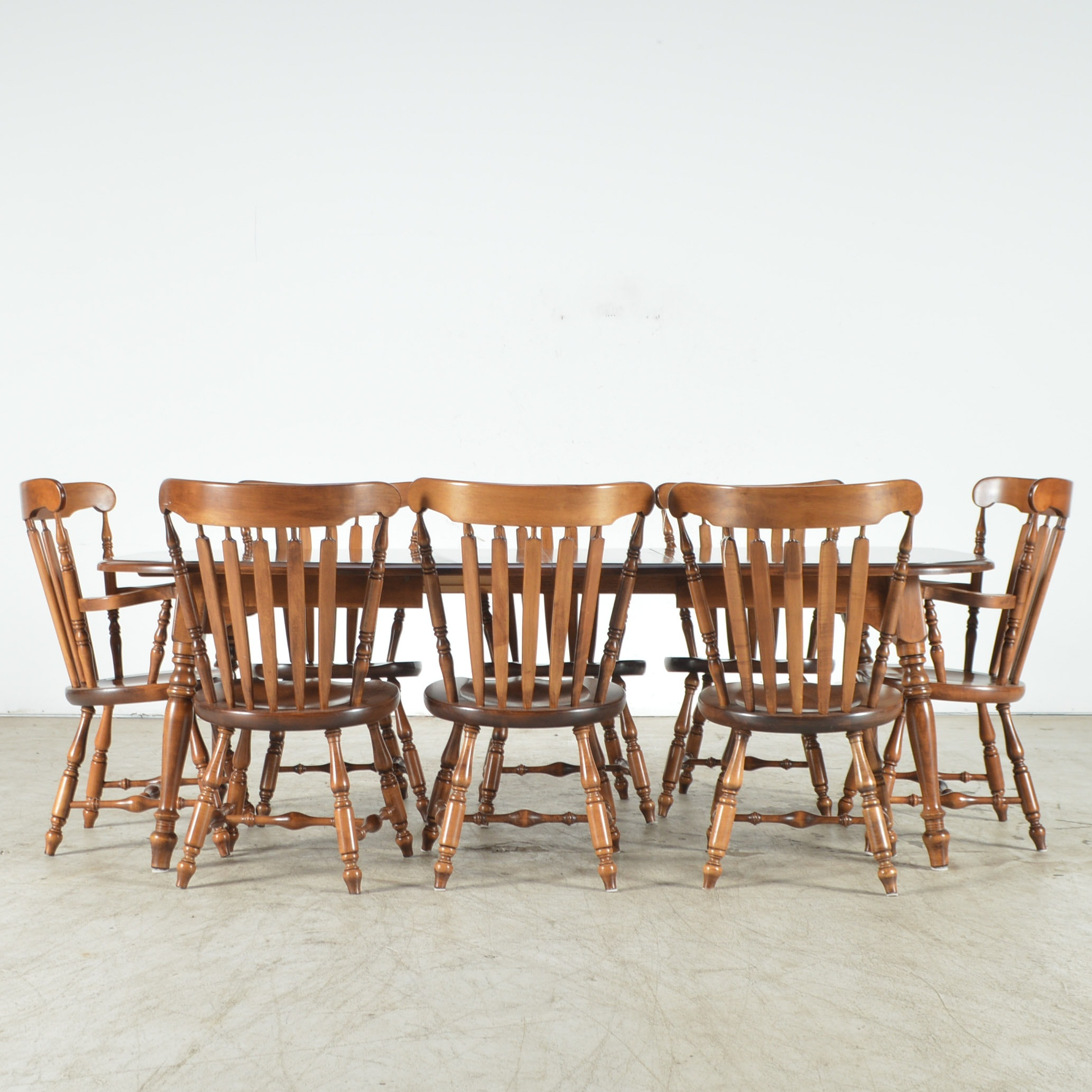 Maple Kitchen Table With Chair And Bench Ebth: Rock Maple Dining Table And Eight Chairs : EBTH