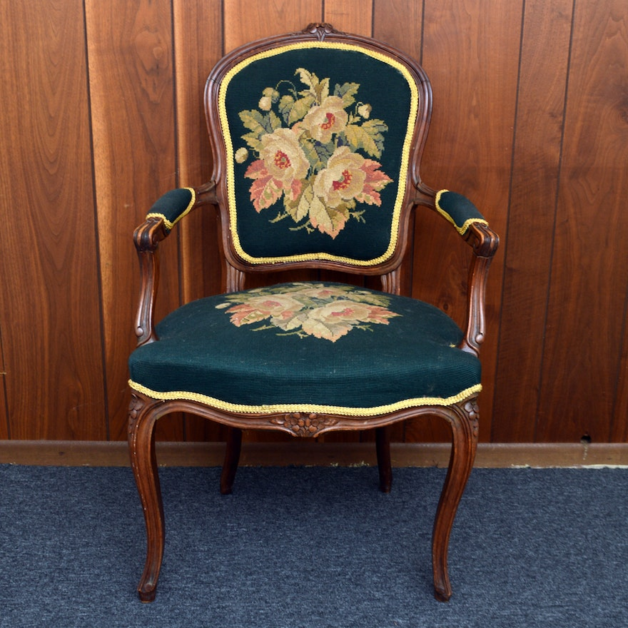 Antique French Louis XV Needlepoint Chair ... - Antique French Louis XV Needlepoint Chair : EBTH