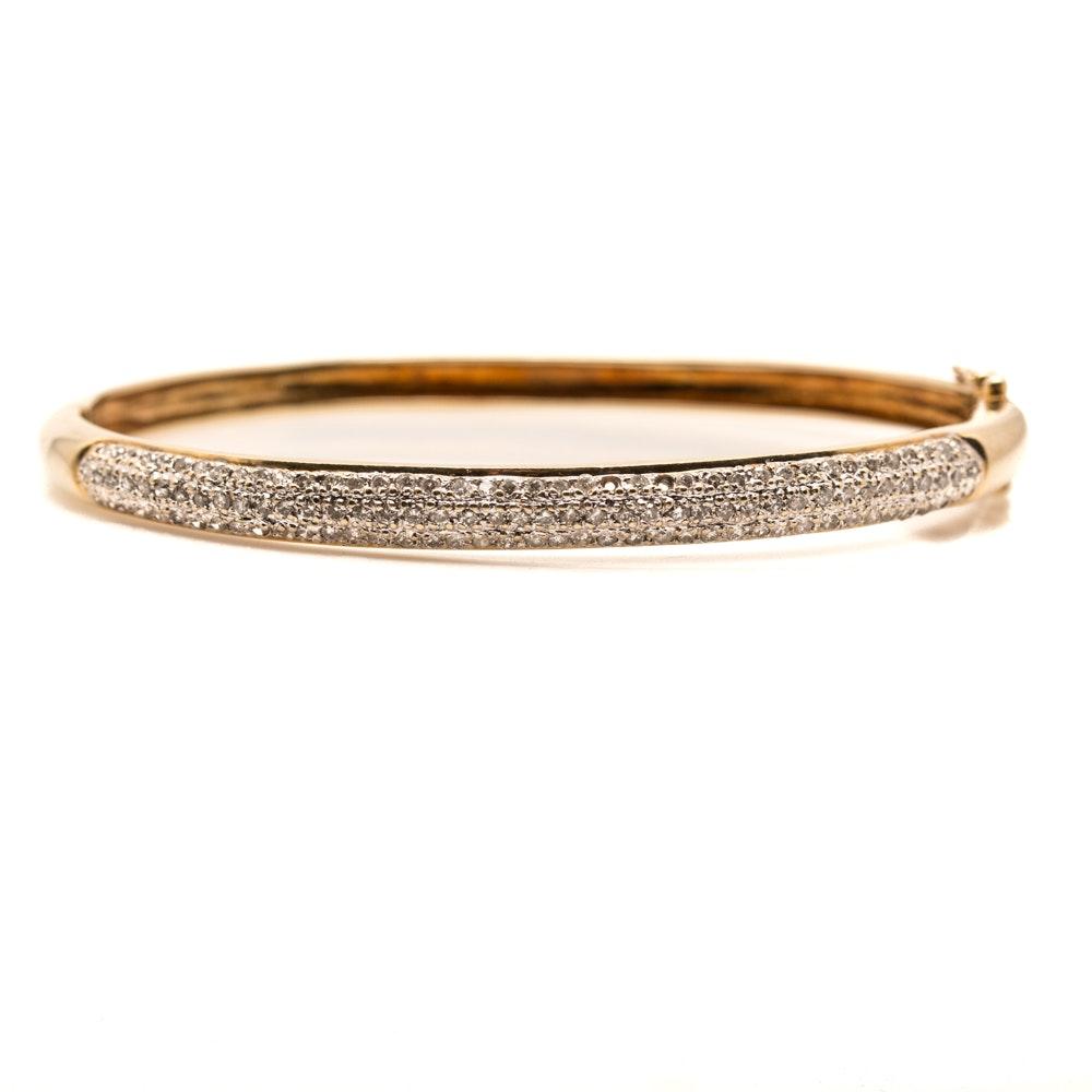 14K Yellow Gold and Diamond Hinged Bangle Bracelet