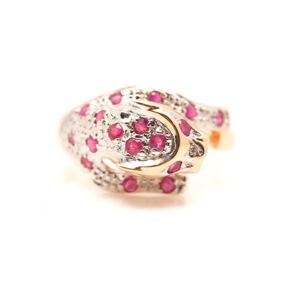 14K Yellow and White Gold Ruby and Diamond Cheetah Ring