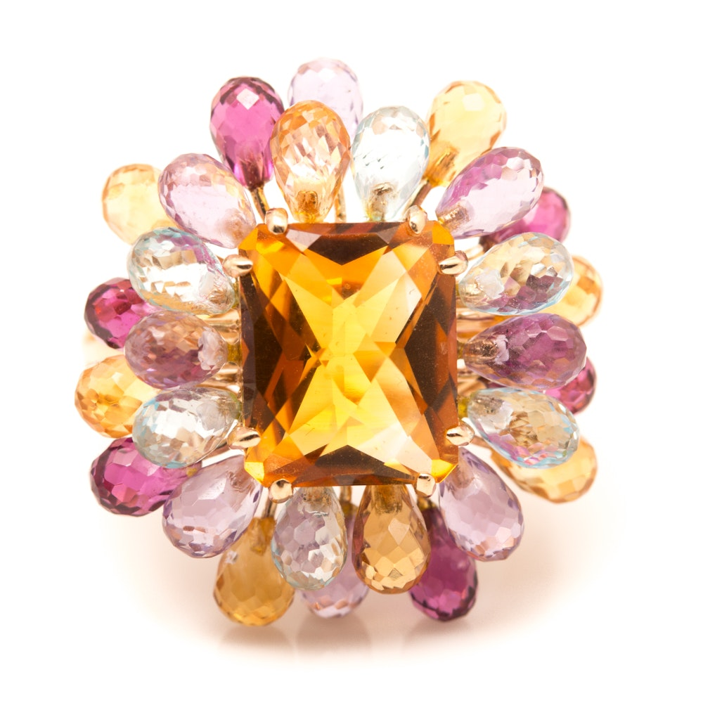 14K Yellow Gold 3.40 CTS Citrine and Gemstone Cluster Ring