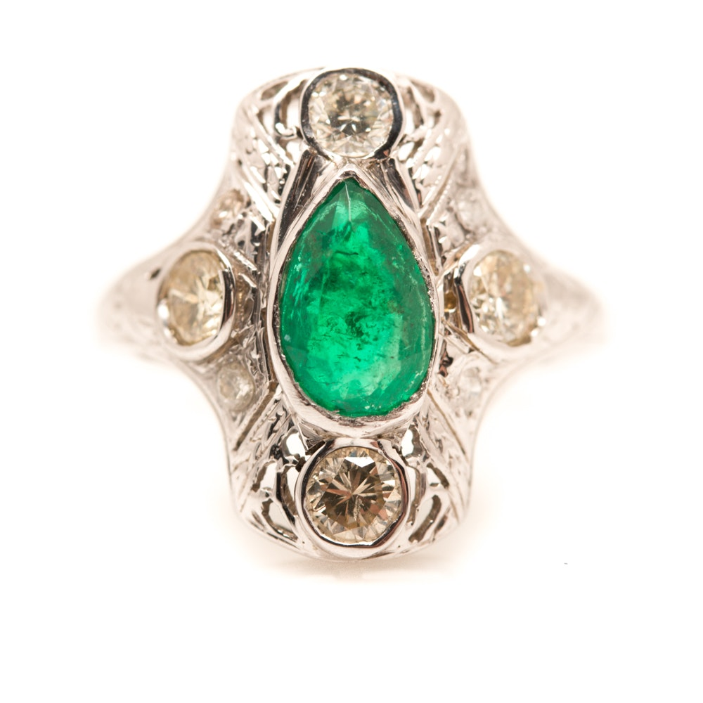 14K White Gold Emerald and 1.40 CTW Diamond Ring