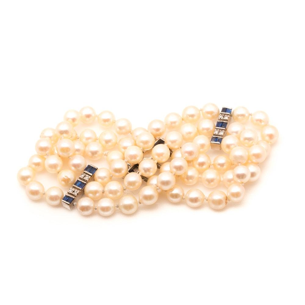 14K White Gold Pearl, Sapphire, and Diamond Bracelet