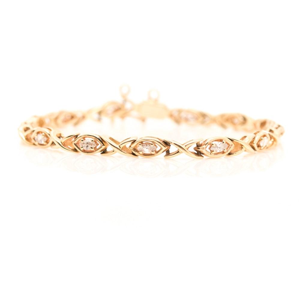 14K Yellow Gold 1.04 CTW Diamond Bracelet