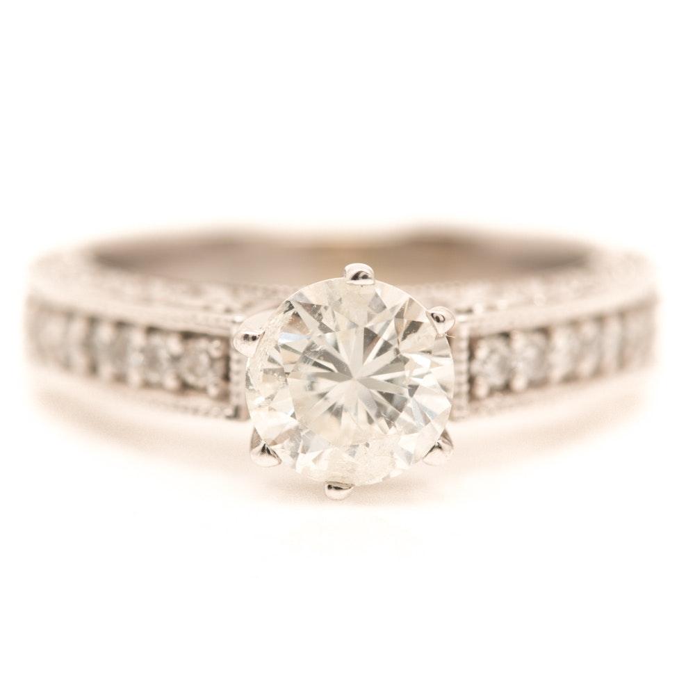 14K White Gold 1.23 CTW Diamond Ring
